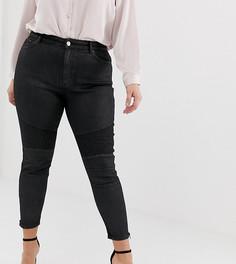 23fee17085e Черные джинсы с завышенной талией и байкерской отделкой на коленях ASOS  DESIGN Curve Ridley - Черный
