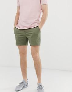 Облегающие шорты чиносы светлого цвета хаки ASOS DESIGN - Зеленый