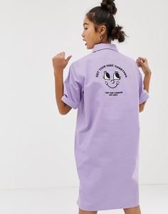 Свободное платье-рубашка с воротом на молнии Lazy Oaf - Фиолетовый