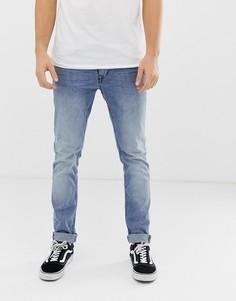 Узкие голубые джинсы с выбеленной отделкой Blend - Синий