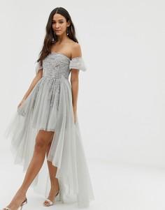 Серое платье мини для выпускного с открытыми плечами и декоративной отделкой Dolly & Delicious - Серый
