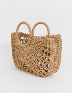 Плетеная соломенная сумка ASOS DESIGN - Коричневый