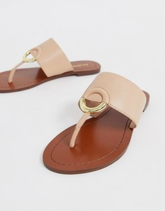 Бежевые кожаные сандалии с ремешком между пальцами ALDO Ocericia - Розовый