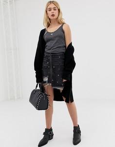 Джинсовая юбка с заклепками и рваной отделкой One Teaspoon - Черный