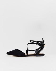 Черные балетки с заостренным носком и плетеной завязкой ASOS DESIGN Lawful - Черный