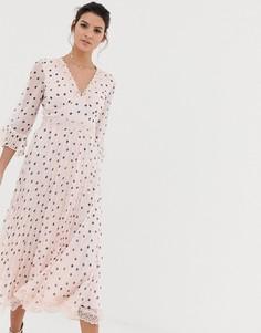 Плиссированное платье миди в горошек с кружевными вставками ASOS DESIGN - Мульти