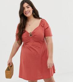 Свободное платье мини с черепаховой пряжкой ASOS DESIGN - Красный