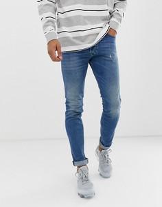 Выбеленные облегающие джинсы-морковки Diesel Tepphar 089AW - Синий