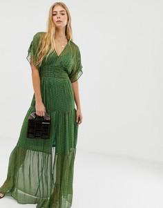 Ярусное платье макси с блестящими нитями BA&SH Wanda - Зеленый Ba&;Sh