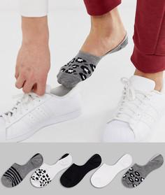 Набор из 5 пар невидимых носков с анималистичным дизайном ASOS DESIGN - Мульти