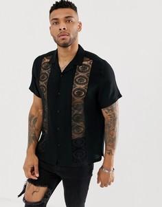 000601c7e43 Черная oversize-рубашка с отложным воротником и кружевными вставками ASOS  DESIGN - Черный