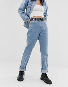 Синие выбеленные джинсы в винтажном стиле Ragged Jeans - Синий