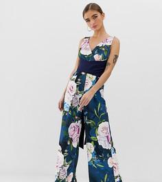 Комбинезон с кюлотами с широкими штанинами, поясом и цветочным принтом Paper Dolls Petite - Мульти