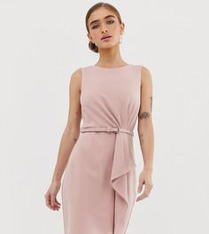 Розовое платье-футляр миди с оборками и поясом Paper Dolls Petite - Розовый