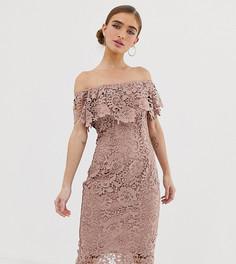 Кружевное платье-футляр серо-коричневого цвета с открытыми плечами Paper Dolls Petite - Коричневый