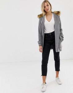 Пальто с большими карманами и искусственным мехом на капюшоне Naf Naf - Серый