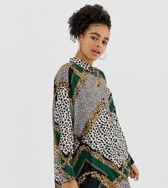 Удлиненная oversize-блузка с принтом Monki - Мульти