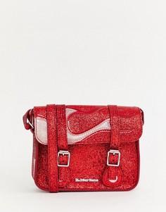 Красный портфель с языками пламени и блестками Dr Martens - 7 дюймов - Красный