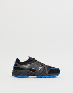 Черные кроссовки с синей подошвой ASOS DESIGN dad - Синий
