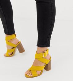 Ярко-желтые босоножки для широкой стопы с наборным каблуком RAID Abree - Желтый