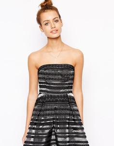 Платье для выпускного в полоску True Decadance Petite - Черный