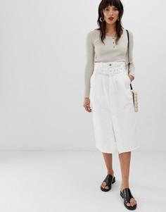 Джинсовая юбка миди с необработанным краем и ремнем Neon Rose - Белый