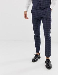 Темно-синие узкие брюки в клетку Selected Homme - Темно-синий