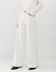 Серовато-бежевые расклешенные джинсы с широкими штанинами Tomorrow - Белый