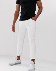 Белые суженные книзу джинсы укороченного кроя из плотного неэластичного денима Religion - Белый