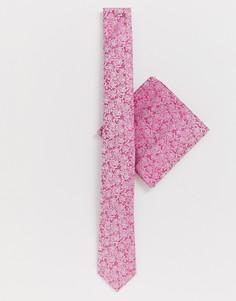Розовый галстук и платок для пиджака с цветочным принтом Moss London - Розовый