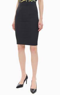 Черная юбка-карандаш с кружевной вставкой Liu Jo