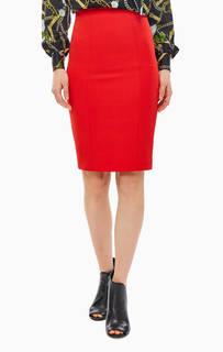 Красная юбка-карандаш с кружевной вставкой Liu Jo