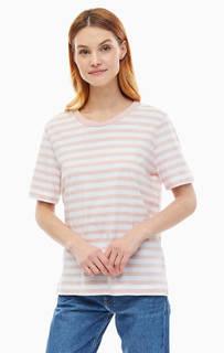 Хлопковая футболка в полоску с круглым вырезом Selected