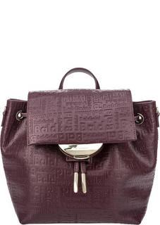 Бордовая сумка-рюкзак с тиснением Greta Baldinini