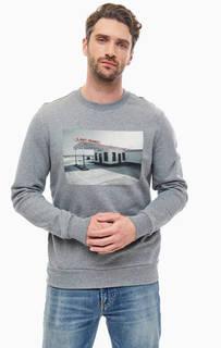 Серый свитшот из хлопка с принтом Calvin Klein