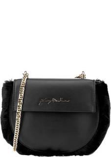 Кожаная сумка с меховой отделкой Ines Baldinini