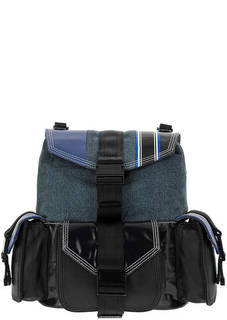 Сумка-рюкзак из денима и гладкой кожи с откидным клапаном Diesel