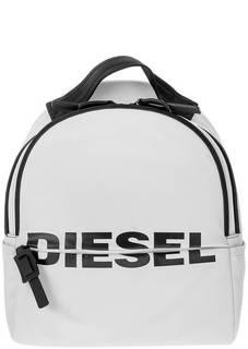 Текстильный белый рюкзак с одним отделом на молнии Diesel