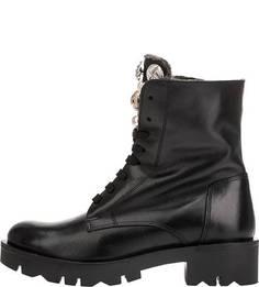 Утепленные кожаные ботинки с декоративной отделкой Tosca Blu Studio