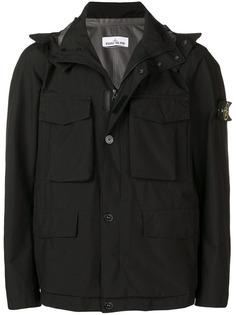 Stone Island куртка с карманом и капюшоном