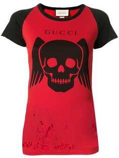 Gucci футболка с эффектом потертости и принтом