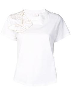 See By Chloé футболка с вышивкой бабочки