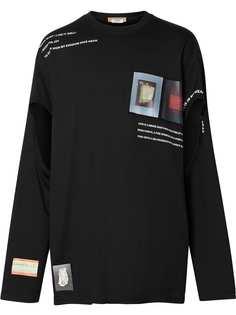 Burberry футболка с длинными рукавами и монограммой