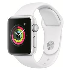 Смарт-часы APPLE Watch Series 3 42мм, серебристый / белый [mtf22/a]