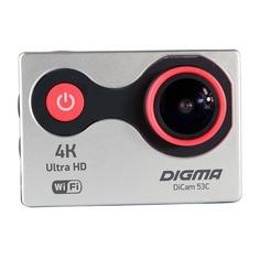 Экшн-камера DIGMA DiCam 53C 4K, WiFi, серебристый/ оранжевый [dc53c]
