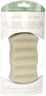 The Konjac Sponge Co - Спонж для мытья тела Premium Six Wave Body Puff with French Green Clay с зеленой глиной (премиум-упаковка)