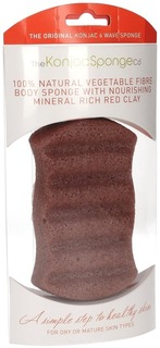 The Konjac Sponge Co - Спонж для мытья тела Premium Six Wave Body Puff with French Red Clay с красной глиной (премиум-упаковка)