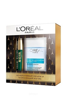 L'Oreal - Набор Тушь для ресниц Фелин экстрачерная + Средство для снятия макияжа с глаз, 125 мл