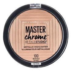 "Maybelline - Хайлайтер для лица ""Master Chrome"" для сияния кожи, оттенок 100 Molten Gold, 6,7 гр"