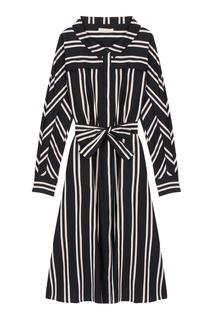 Черно-белое полосатое платье-рубашка Maje